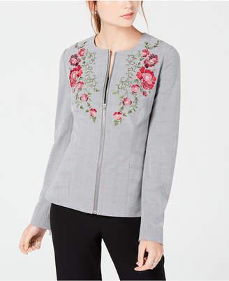 XOXO Juniors' Embroidered Plaid Jacket