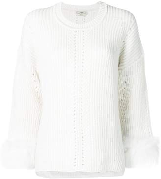 Fendi fox fur-trimmed knit cashmere sweater