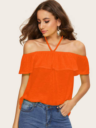 Shein Neon Orange Halter Off Shoulder Ruffle Trim Marled Top