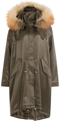 Alexander McQueen Wool Blend Satin Parka with Fox Fur