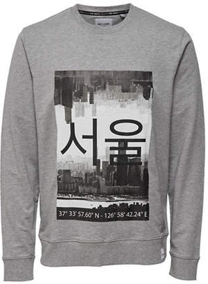 ONLY & SONS Printed Crew Neck Cotton Sweater