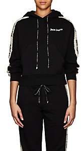 Palm Angels Women's Floral-Logo Cotton Fleece Hoodie - Black
