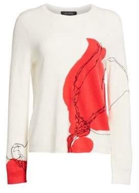 St. John Intarsia Flower Cashmere Sweater