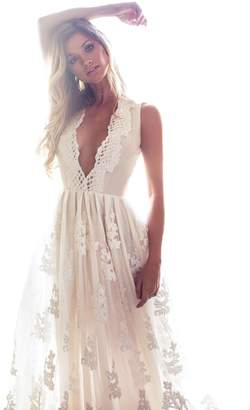 Bohemia Mileyhouse Lace Bridal Gown V-Neck Vintage Long Beach Boho Wedding Dresses
