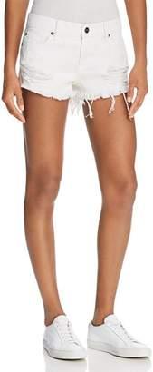 Pistola Gigi Distressed Cutoff Denim Shorts in White Lies