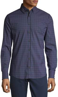 Boss Casual Long-Sleeve Houndstooth Button-Down Shirt