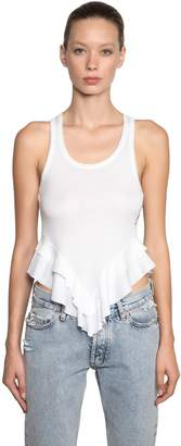 Filles a papa Ruffled Cotton Ribbed Tank Top