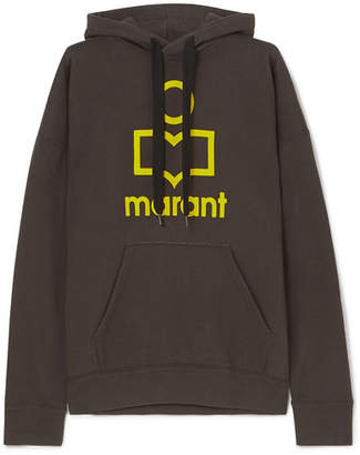Etoile Isabel Marant Mansel Flocked Cotton-blend Jersey Hoodie - Black