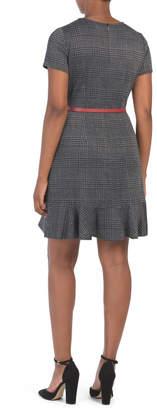 Plaid Short Sleeve Ruffle Hem Dress