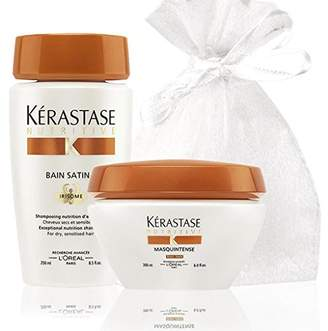 Kérastase Shampoo and Mask Set for very dry hair (Nutritive Bain Satin 2 & Masquintense for Thick Hair) in an Exquisite Giftbag with Free Bracelets