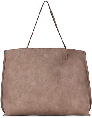 Street Level Taupe & Chocolate Shine Reversible Tote