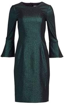 Teri Jon by Rickie Freeman Metallic Bell Sleeve Sheath