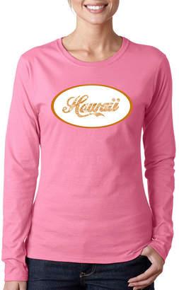 LOS ANGELES POP ART Los Angeles Pop Art Hawaiian Island Names & Imagery Womens Long Sleeve Graphic T-Shirt