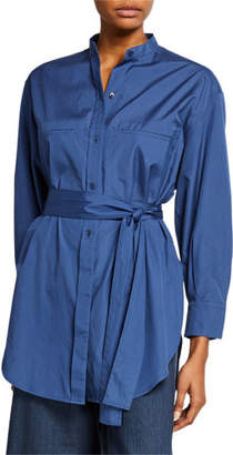 Vince Long-Sleeve Oversized Belted Shirt