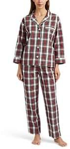 Sleepy Jones Women's Marina Plaid Cotton Flannel Pajama Set - Blue