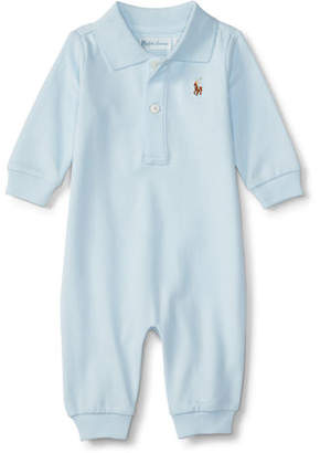 Ralph Lauren Long-Sleeve Pima Polo Coverall, Size 3-12 Months