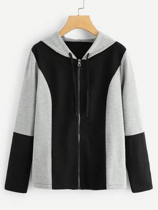 Shein Colorblock Zip Up Hooded Jacket