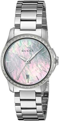 Gucci Women's 'G-Timeless' Quartz Stainless Steel Automatic Watch, Color:Silver-Toned (Model: YA126543)