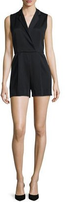Alice + Olivia Debby Sleeveless Tuxedo Romper, Black $368 thestylecure.com