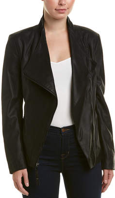 Via Spiga Asymmetrical Leather Jacket