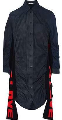 Stella McCartney Raven Jacquard Knit-paneled Checked Cotton-poplin Mini Shirt Dress