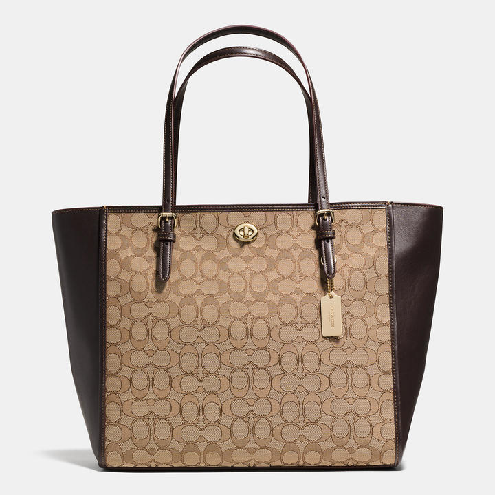 Coach   COACH Coach Turnlock Tote In Signature Jacquard