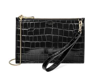 Aspinal of London Soho Bag In Deep Shine Black Croc