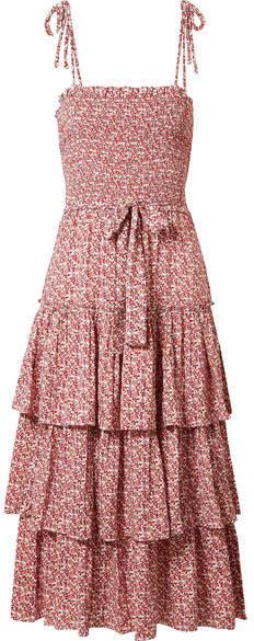 Ruffled Smocked Floral-print Crepe Midi Dress - Red