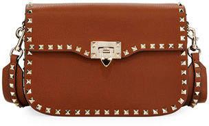 Valentino Rockstud Medium Leather Saddle Shoulder Bag
