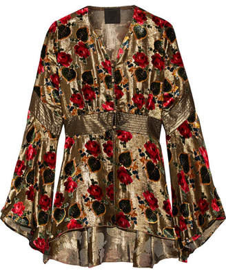 Anna Sui Flocked Lamé Blouse - Gold