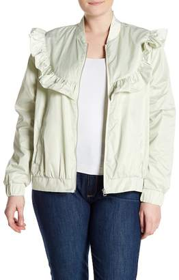 Melrose and Market Nylon Ruffle Trim Jacket (Plus Size)