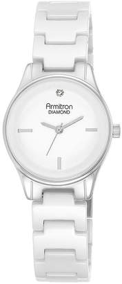 Armitron Now Womens Diamond-Accent Silver-Tone Ceramic Bracelet Watch 75/5348WTSV