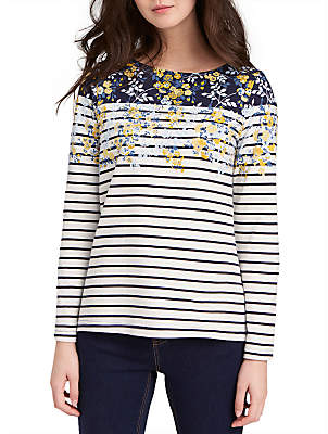 Joules Harbour 3/4 Sleeve Stripe Jersey Top, Navy Gold Ditsy