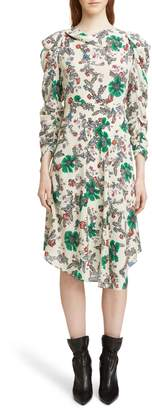 Isabel Marant Carley Ruched Sleeve Silk Blend Dress