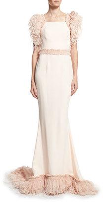 Alexandra Vidal Feather-Embellished Organza Column Gown, Pink