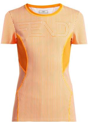 Fendi Logo Print Striped Performance T Shirt - Womens - Orange Multi