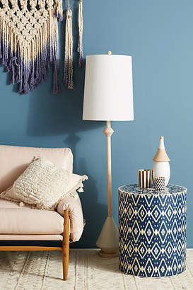Anthropologie Ikat Inlay Drum Side Table