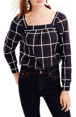 Women's J.crew Penny Cuffed Sleeve Windowpane Top $98 thestylecure.com
