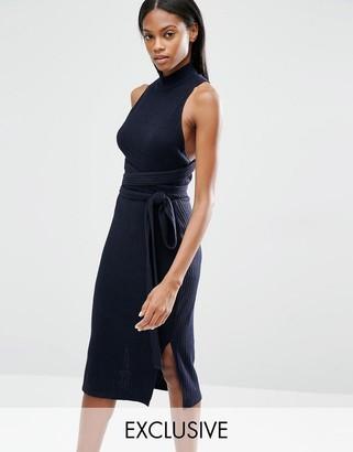 Lavish Alice Rib Knit Open Back Wrap Tie Midi Dress $91 thestylecure.com