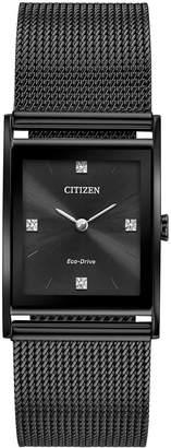 Citizen Eco-Drive Unisex Axiom Black Stainless Steel Mesh Bracelet Watch 26mm