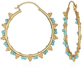 Satya Jewelry Women's Turquoise Gold Wrapped Hoop Earrings