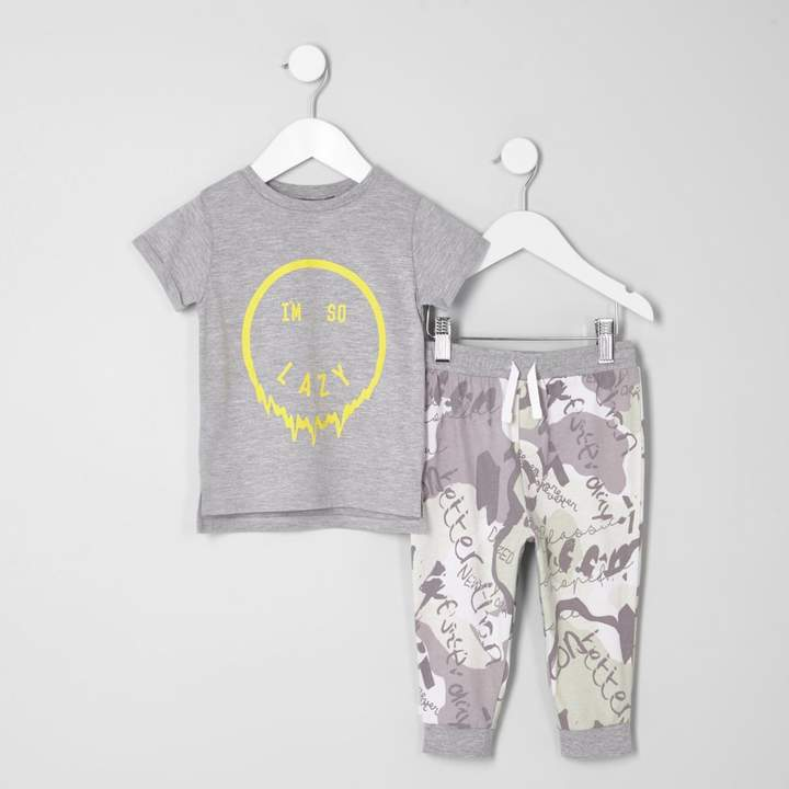 Mini boys Grey 'I'm so lazy' pyjama set