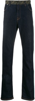 Fendi monogram waist straight jeans
