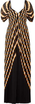 By Malene Birger Alvima Pleated Striped Chiffon Maxi Dress - Black