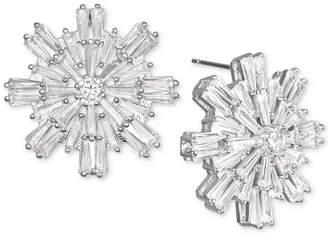 Badgley Mischka Baguette Crystal Starburst Cluster Stud Earrings