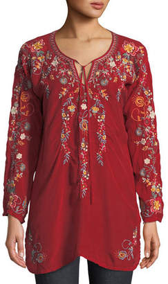 Johnny Was Autumn Bloom Tie-Neck Embroidered Tunic