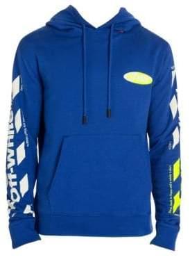Off-White Men's Diagonal Split Logo Cotton Hoodie - Blue Yellow - Size XXL