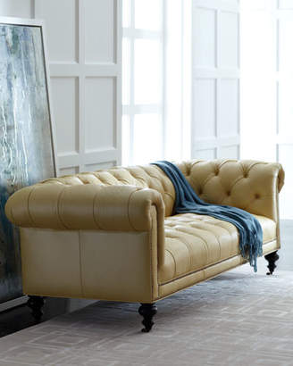 """Old Hickory Tannery Morgan Sunshine Leather Chesterfield Sofa 86"""""""