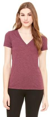 Clementine Apparel Women's Triblend Short-Sleeve Deep V-Neck T-Shirt