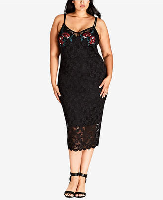 City Chic Trendy Plus Size Embroidered Lace Midi Dress